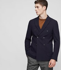 Reiss Timmy Double Breasted Blazer In Blue Mens
