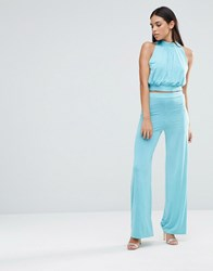 Love High Waisted Wide Leg Trouser Aqua Blue