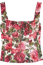 Dolce And Gabbana Floral Print Cotton Poplin Bustier Top Red