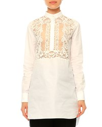Valentino Long Sleeve Lace Bib Blouse White