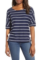 Everleigh Side Tie Stripe Tee Navy With White