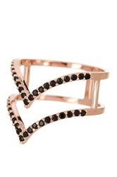 Nordstrom Rack Rose Gold Double Cz Pave Point Bar Ring Size 7 Multi