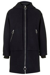 Topshop Wool Blend Overlay Hooded Coat Navy Blue