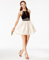 Teeze Me Juniors' Embellished Halter Fit And Flare Dress Created For Macy's Black Gold
