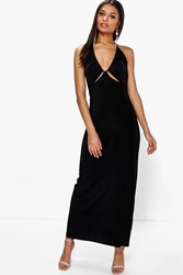 Boohoo Ruched Halterneck Cut Out Maxi Dress Black