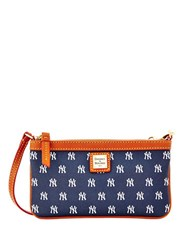 Dooney And Bourke Yankees Coated Cotton Large Slim Wristlet Navy