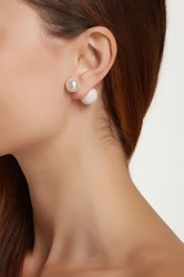 Gold Plated Sterling Silver Double Sided Shell Pearl Earrings White
