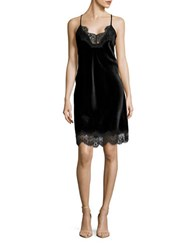 Highline Collective Velvet Lace Trimmed Nightgown Black