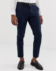 Burton Menswear Skinny Suit Trousers In Navy Check