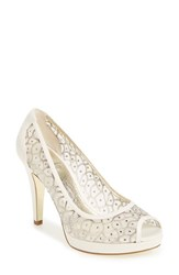 Adrianna Papell Women's 'Foxy' Crystal Embellished Peeptoe Pump Ivory Fabric