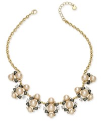 Charter Club Gold Tone Crystal And Pink Imitation Pearl Statement Necklace Created For Macy's
