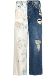 Givenchy Two Tone Cropped Jeans Blue