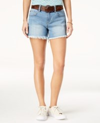 Dollhouse Juniors' Belted Frayed Hem Denim Shorts Ipanema