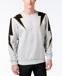 Hudson Nyc Men's Studded Lightning Bolt Sweatshirt Grey Black Multi