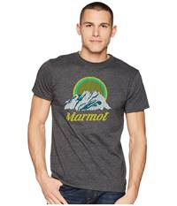 Marmot Short Sleeve Pikes Peak Tee New Charcoal Heather T Shirt Black
