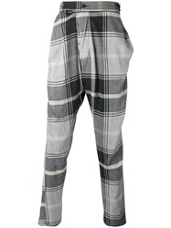 Vivienne Westwood Man Checked Drop Crotch Trousers Grey