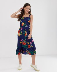 Influence Buton Through Midi Dress In Tropical Floral Print Blue