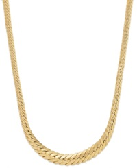 Macy's Graduated Herringbone Necklace In 14K Gold