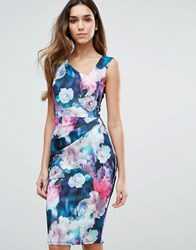 Jessica Wright Floral Printed Midi Dress Navy