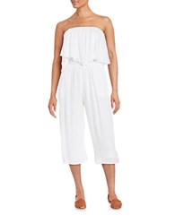 Guess Cropped Off The Shoulder Jumpsuit White