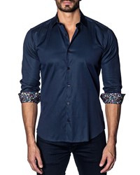 Jared Lang Modern Fit Pinpoint Long Sleeve Shirt Navy Pin Point
