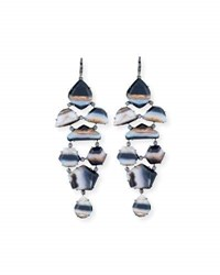 Shawn Ames Eloise Black And White Agate Earrings With Black Diamonds