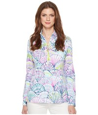 Lilly Pulitzer Upf 50 Skipper Printed Popover Serene Blue Oh Shello Women's Long Sleeve Pullover