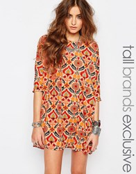 Noisy May Tall Retro Floral Print Shift Dress Multi