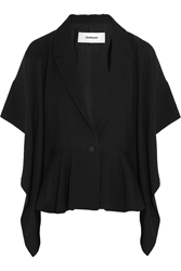 Chalayan Draped Two Tone Crepe Blazer Black
