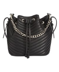 Steve Madden Marge Chevron Quilted Drawstring Small Bucket Bag Black