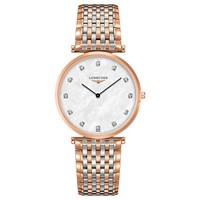 Longines L47661977 'S La Grande Classique Diamond Two Tone Bracelet Strap Watch Silver Rose Gold