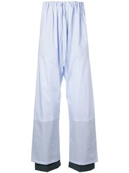 Y Project Striped Loose Fit Trousers Blue