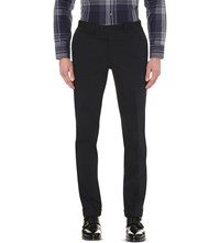 Brioni Leather Trim Regular Fit Trousers Navy