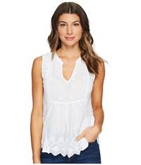 Lucky Brand Washed Woven Mix Tank Top White Women's Clothing