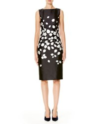 Carolina Herrera Petal Print Sateen Sheath Dress Black White