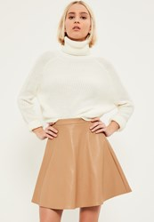 Missguided Nude Faux Leather Full Mini Skirt