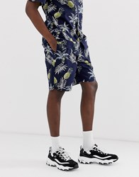 Fairplay Aal Shorts With Pineapple Print In Navy Black