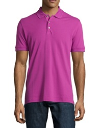 Robert Graham Numero Knit 3 Button Polo Shirt Raspberry