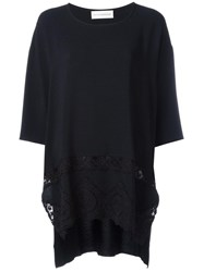 Faith Connexion Macrame Detail Loose Fit T Shirt Black