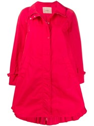 Twin Set Technical Twill Trench Coat Red