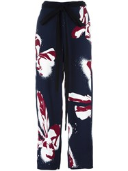 Cedric Charlier Floral Print Wide Trousers Blue