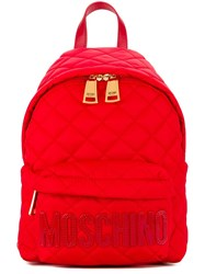 Moschino Quilted Backpack Red