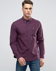 Lyle And Scott Gingham Check Shirt Buttondown In Regular Fit In Navy Claret Navy Claret Red