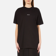Dkny Women's Short Sleeve Crew Neck Oversized Kit Top With Logo Black