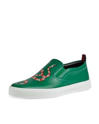 Gucci Dublin Snake Print Leather Slip On Sneaker Green