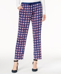 Tommy Hilfiger Printed Drawstring Pants Only At Macy's Blue Houndstooth