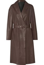 Brunello Cucinelli Reversible Leather Trench Coat Chocolate