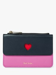 Paul Smith Heart Leather Zip Pouch Purse 47_Navy