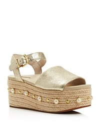 Kenneth Cole Women's Indra Leather Embellished Espadrille Platform Wedge Sandals Soft Gold
