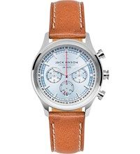 Jack Mason Jm N202 003 Nautical Stainless Steel And Leather Chronograph Watch